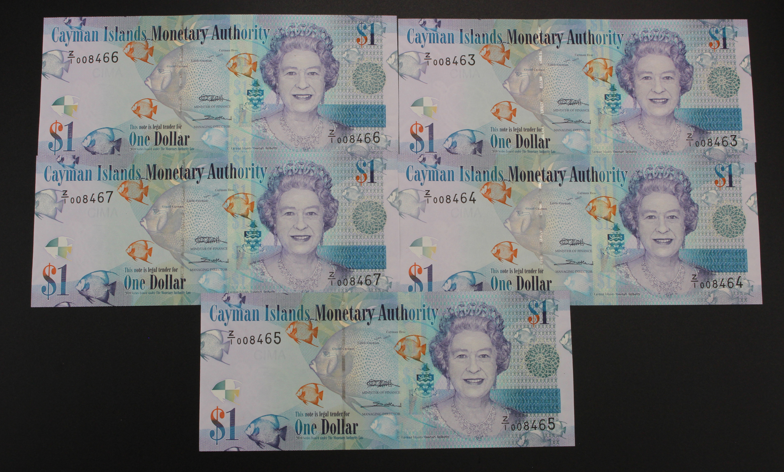 Cayman Islands 1 Dollar REPLACEMENT notes (5) dated 2010, a consecutively numbered run, serial Z/1