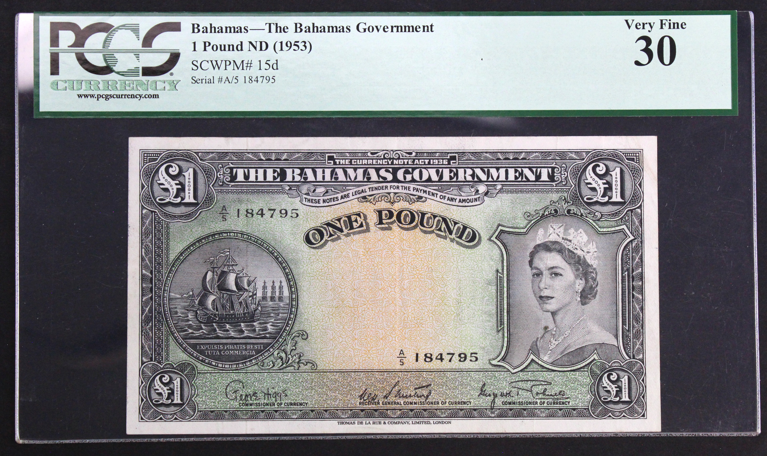 Bahamas 1 Pound issued 1953 (1963), portrait Queen Elizabeth II at right, serial A/5 184795 (TBB