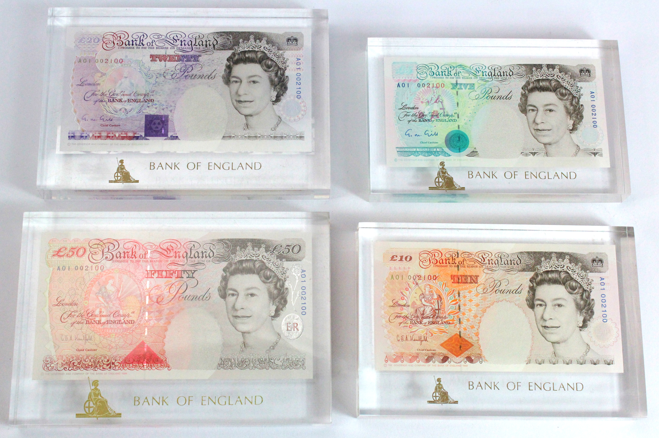 Bank of England (4), a nice set of FIRST RUN notes with MATCHING serial numbers A01 002100,