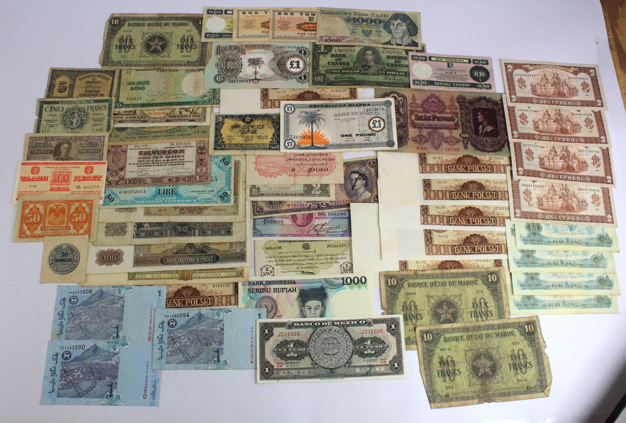 World (53), a varied group in mixed circulated grades