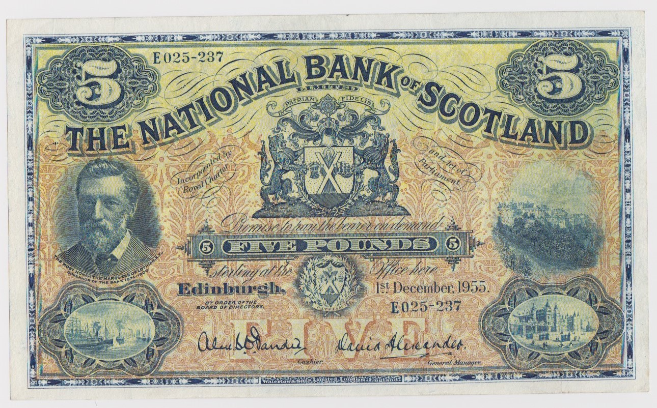Scotland, National Bank of Scotland 5 Pounds dated 1st December 1955, signed Dandie & Alexander,