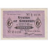 Guernsey 6 Pence dated 1st January 1943, signed Marquand, serial A/K 0138 (TBB B139a, Pick28) some