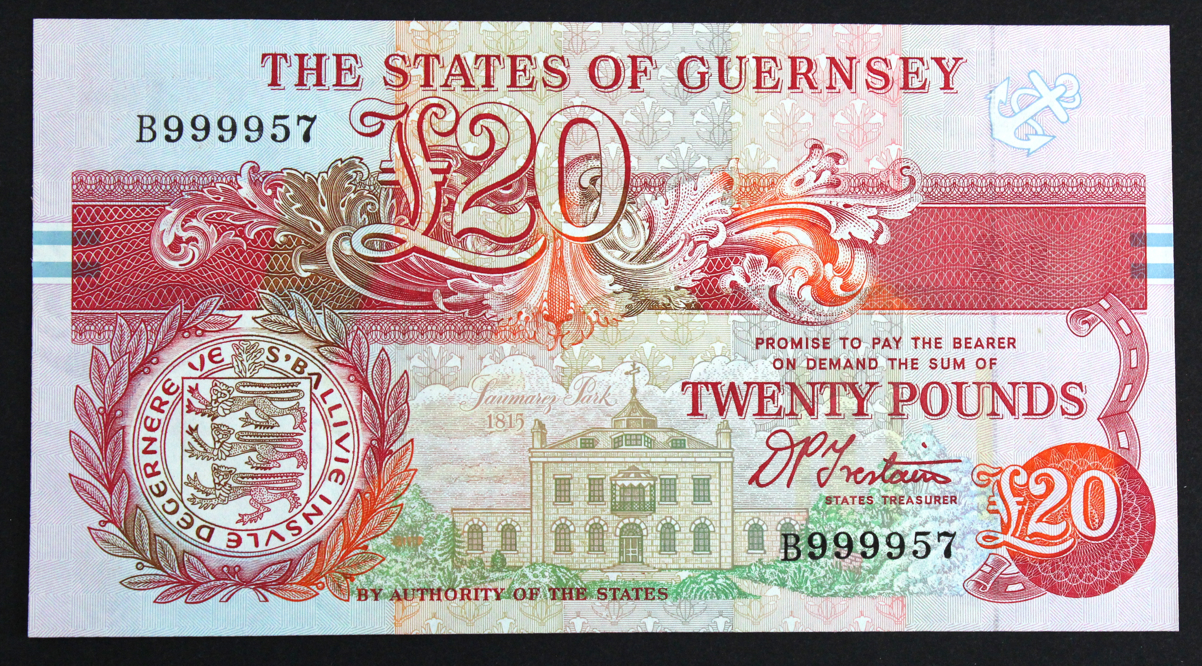 Guernsey 20 Pounds issued 1991 - 1995, signed D.P. Trestain, VERY HIGH serial B999957 (TBB B160b,