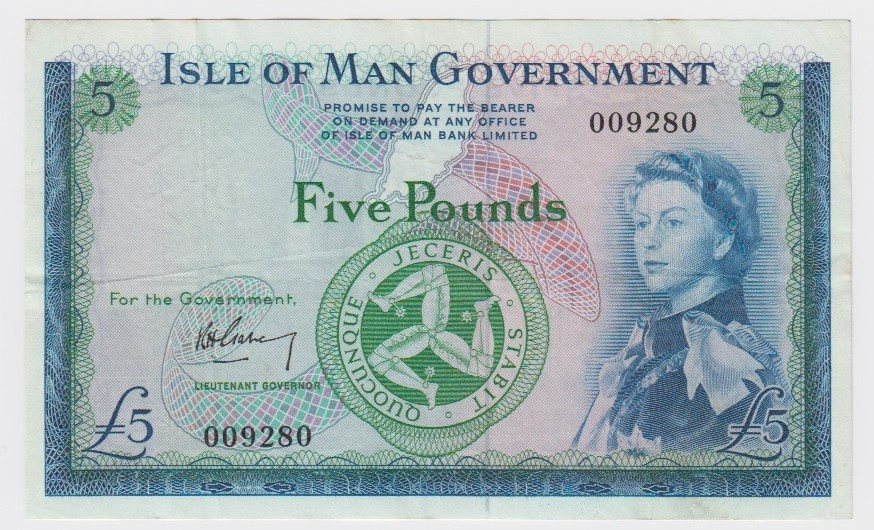Isle of Man 5 Pounds issued 1961, signed Garvey, serial No. 009280 (IMPM M502, Pick26a) about VF