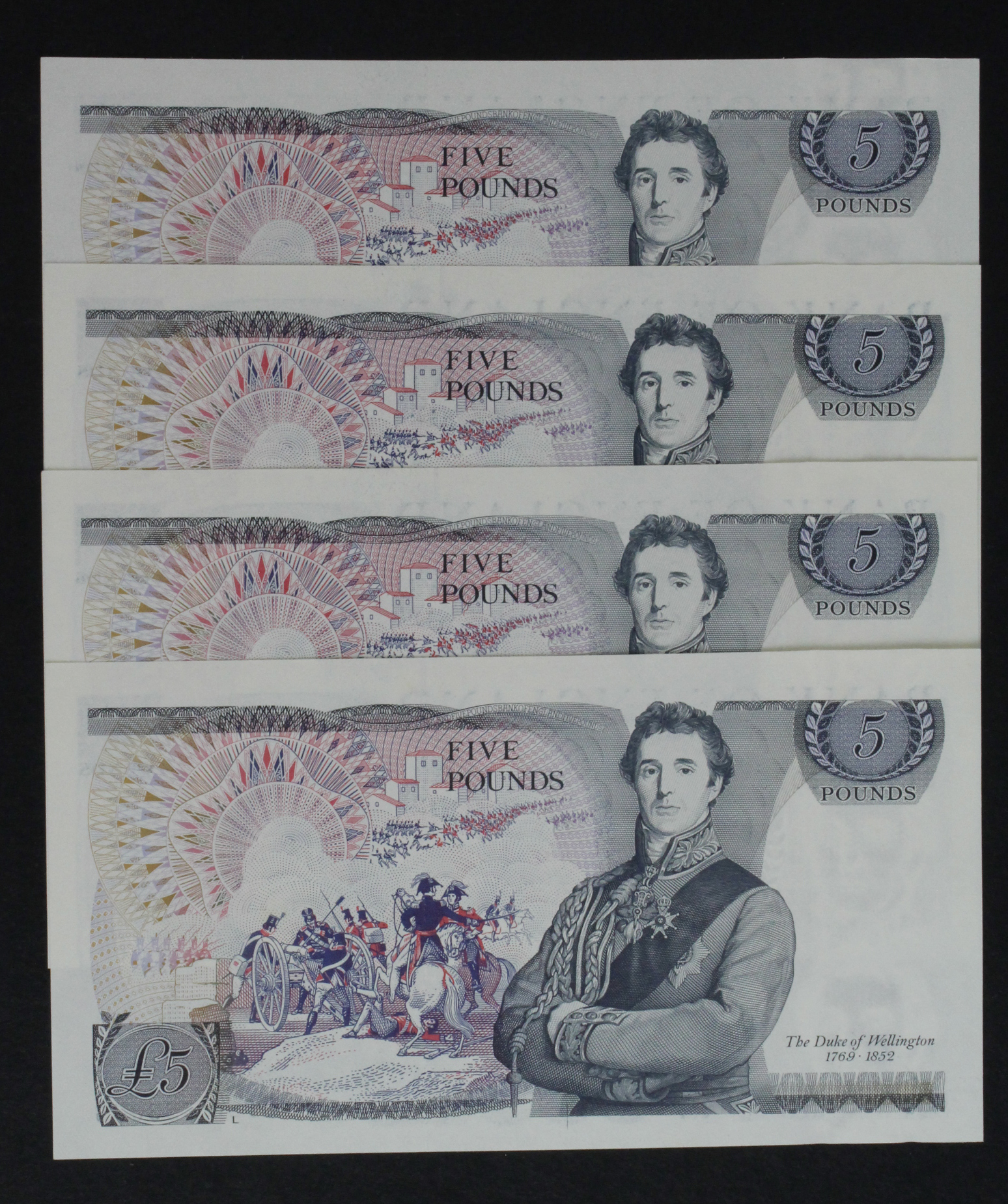 Page 5 Pounds (4) issued 1973, a consecutively numbered run, serial BT50 653075 - BT50 653078 (B336, - Image 2 of 2