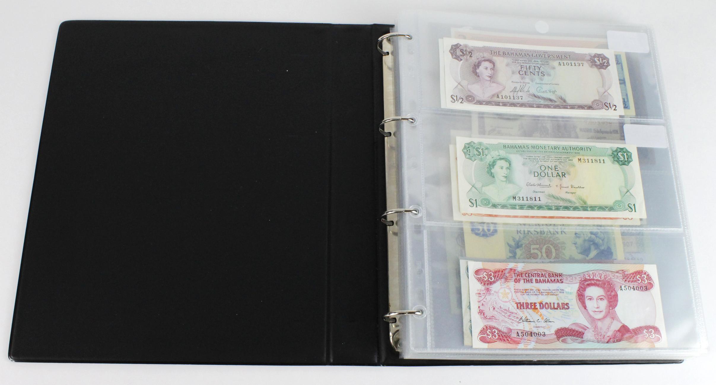 World (163), in banknote album including Bahamas, Spain, Sweden, Netherlands, Algeria, Macau,