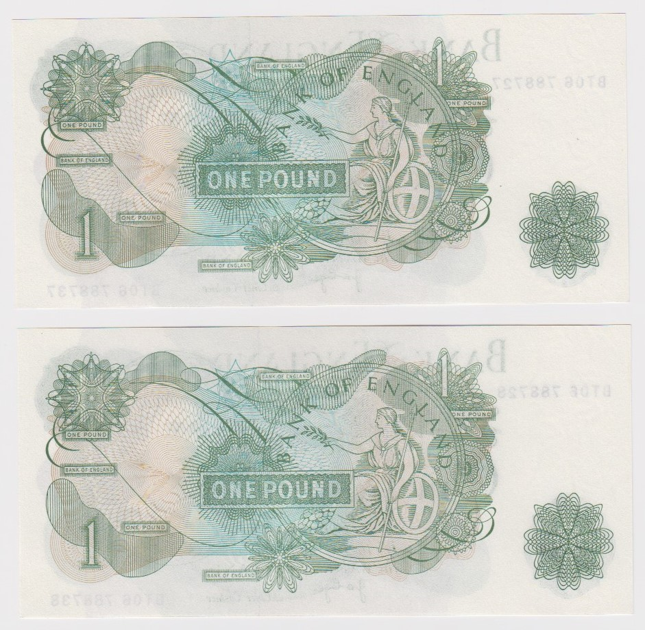 ERROR Page 1 Pound (2) issued 1970, consecutively numbered pair of mismatched serial numbers, top - Image 2 of 2