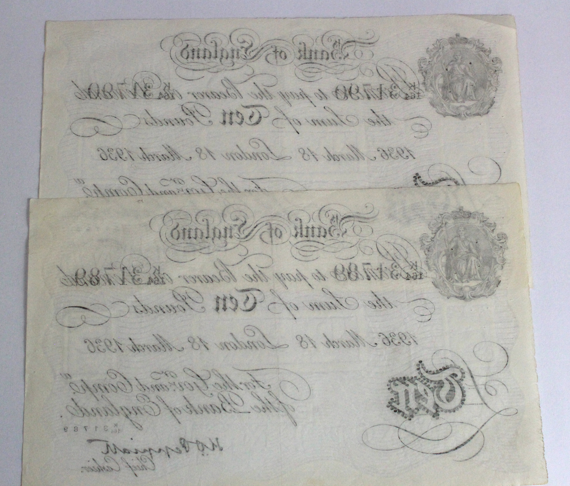Peppiatt BERNHARD note (2), 10 Pounds dated 18th March 1936, a very RARE consecutively numbered - Image 2 of 2