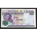 Northern Ireland, Bank of Ireland 50 Pounds dated 1st January 2013, signed Stephen Matchett, first