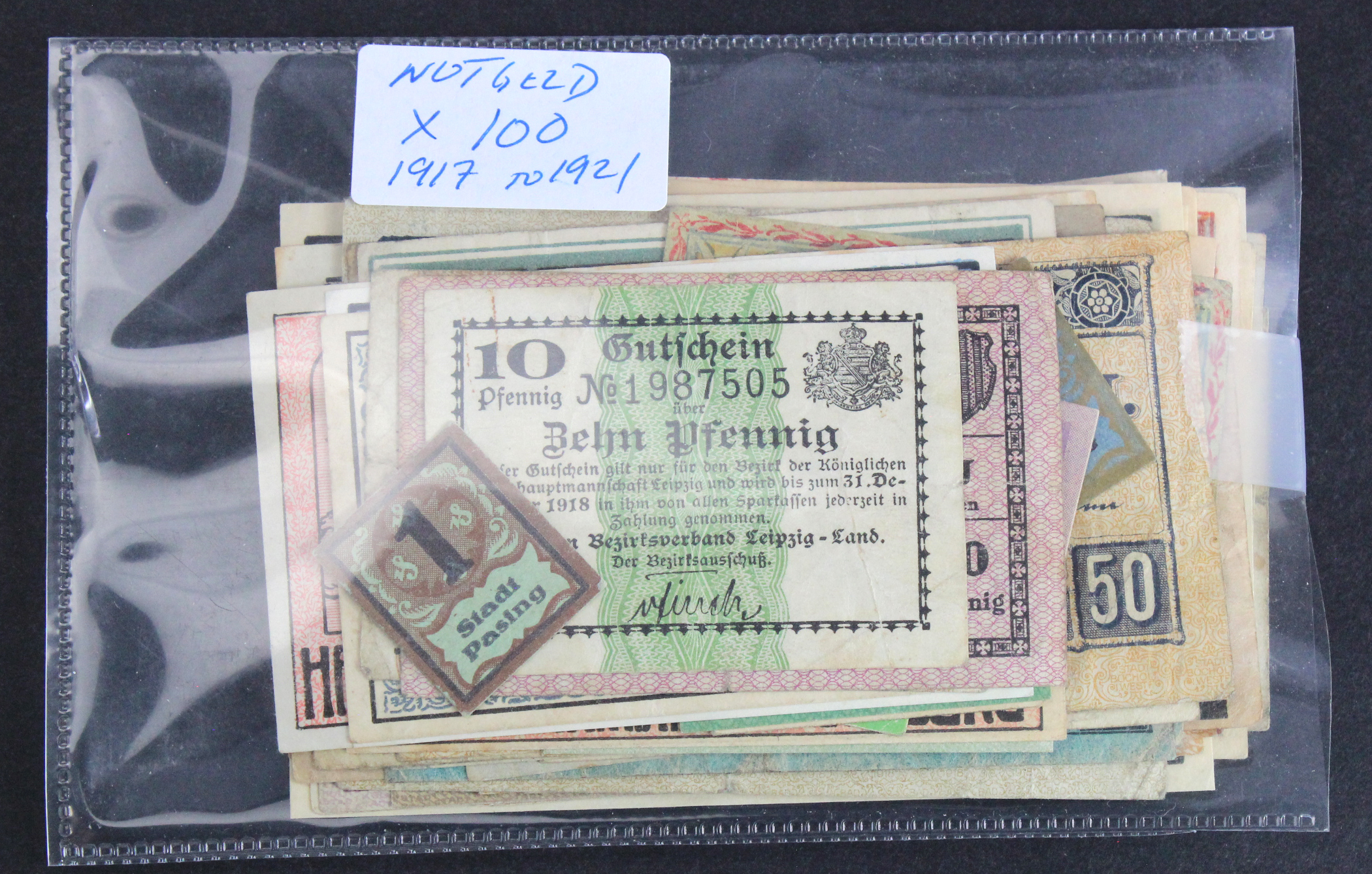Germany Notgeld (100), a mixed collection of towns/cities seen, issued 1917 - 1921 in mixed grades