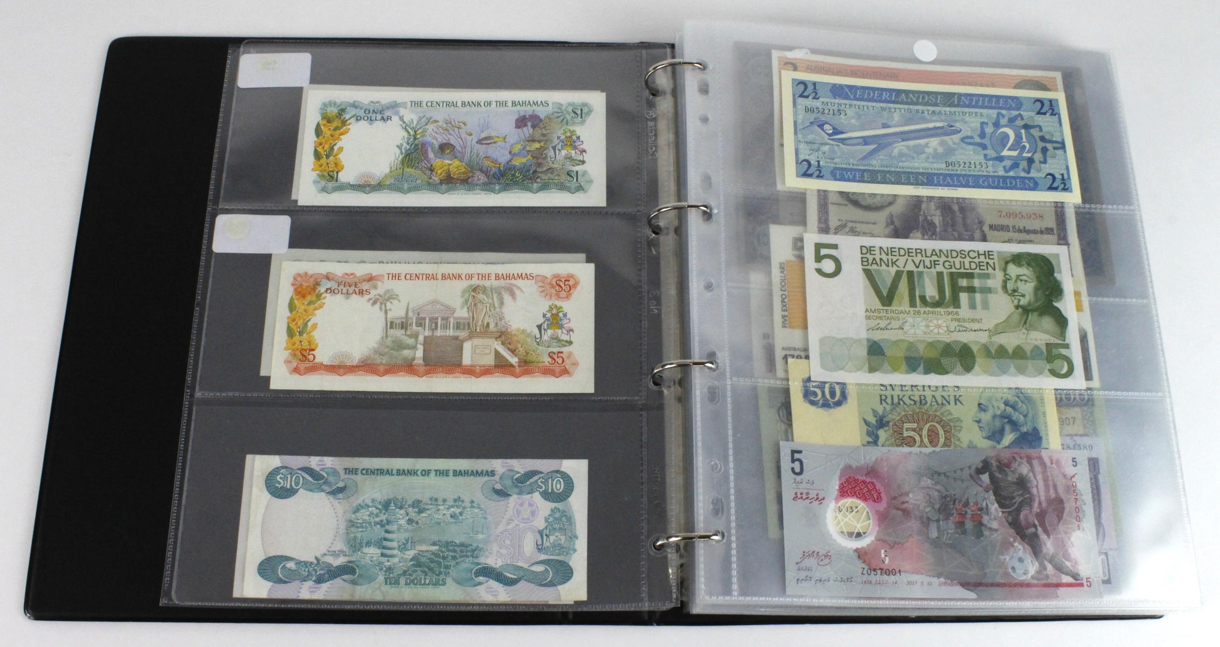 World (163), in banknote album including Bahamas, Spain, Sweden, Netherlands, Algeria, Macau, - Image 3 of 57