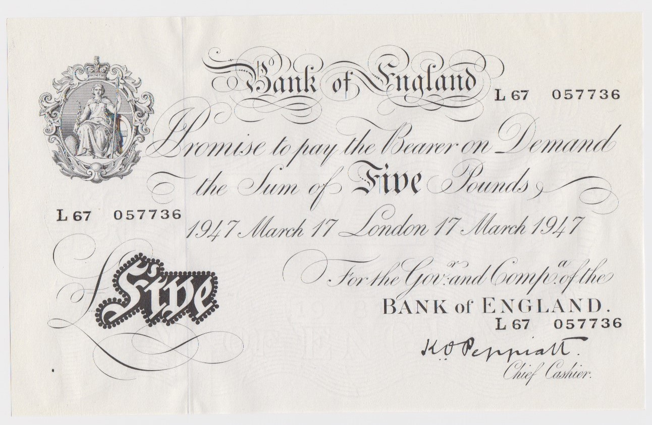Peppiatt 5 Pounds dated 17th March 1947, serial L67 057736, London issue on thin paper, a