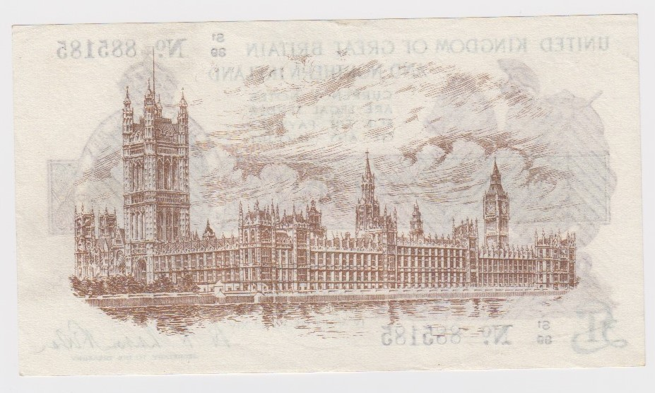 Warren Fisher 1 Pound issued 1927, FIRST SERIES 'S1' prefix, serial S1/89 885185, Great Britain & - Image 2 of 2