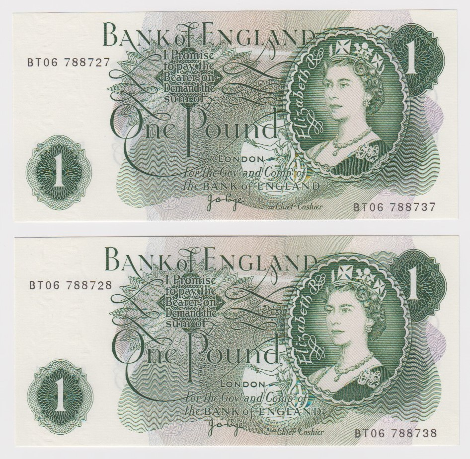 ERROR Page 1 Pound (2) issued 1970, consecutively numbered pair of mismatched serial numbers, top