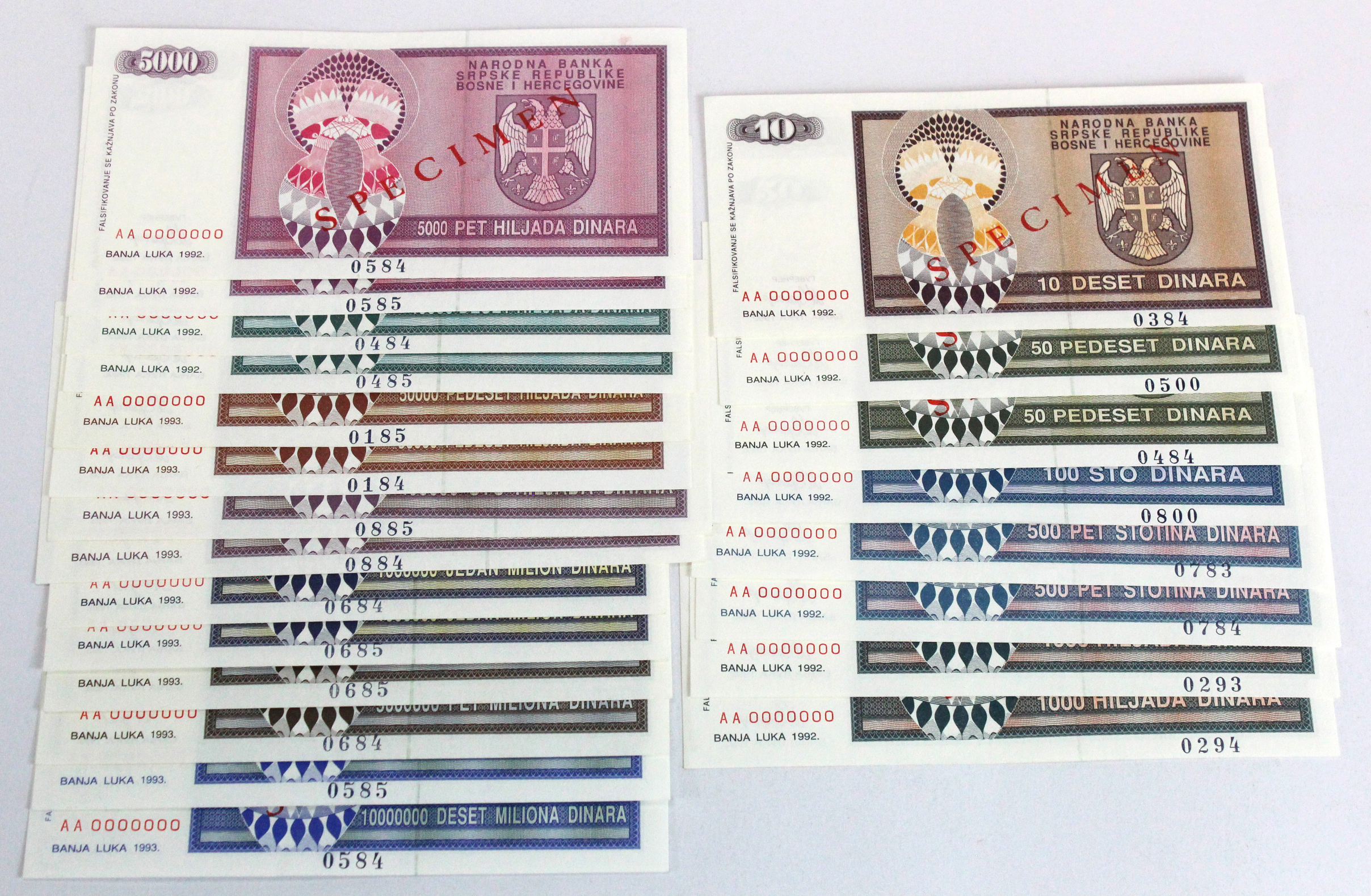 Bosnia & Herzegovina (22) a group of SPECIMEN notes, 10 Dinara, 50 Dinara (2), 100 Dinara, 500