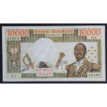 Central African Republic 10000 Francs issued 1976, portrait President J.B. Bokassa at right,