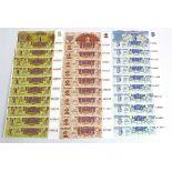 Latvia (60), 10 x sets of 6 notes comprising 50 Rublu, 20 Rublu, 10 Rublu, 5 Rubli, 2 Rubli and 1