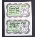 Fiji 1 Penny (2) dated 1st July 1942, serial P/1 035662 & P/1 853866 (TBB B324a, Pick47a)