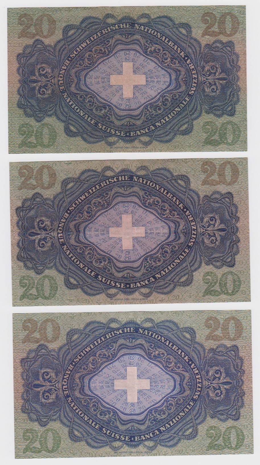 Switzerland 20 Franken (3), dated 28th March 1952 serial 30Q 048611, 20th January 1949 serial 25H - Image 2 of 2