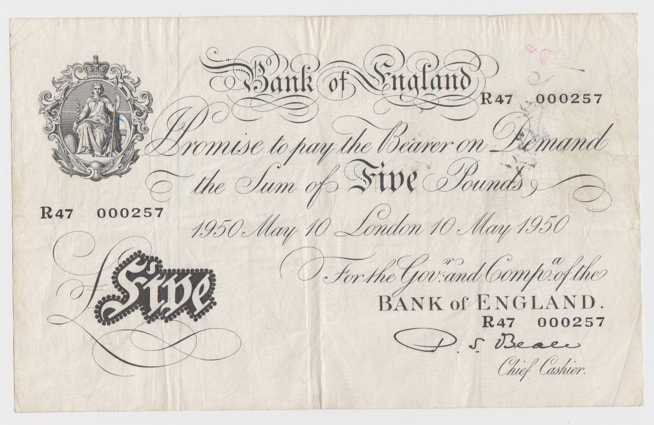 Beale 5 Pounds dated 10th May 1950, serial R47 000257 (B270, Pick344) ink annotations on reverse,