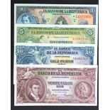 Colombia (4), 20 Pesos Oro dated 1953, 10 Pesos Oro dated 1960, 5 Pesos Oro dated 1953 & 1 Peso