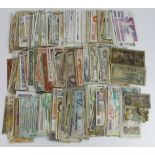 World (370), a box of mixed world notes in grades from poor to Uncirculated, bundles of Jersey,