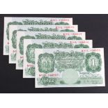 O'Brien 1 Pound (5) issued 1955, series A Britannia 1 Pound notes, 2 consecutively numbered pairs