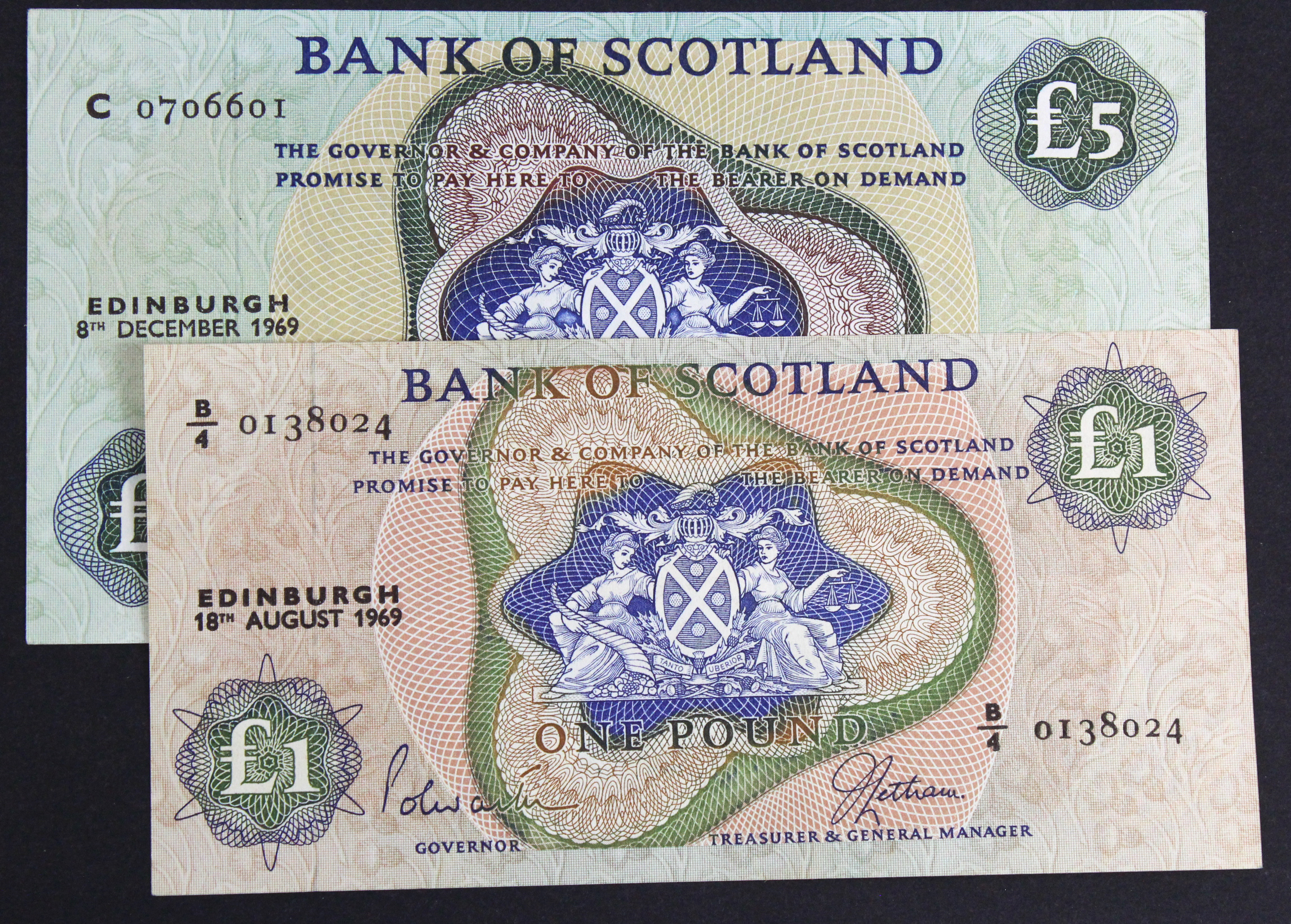 Scotland, Bank of Scotland (2), 5 Pounds dated 8th December 1969, signed Polwarth & Letham, serial C