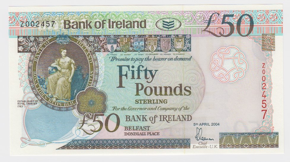 Northern Ireland, Bank of Ireland 50 Pounds dated 5th April 2004, scarce REPLACEMENT note 'Z'