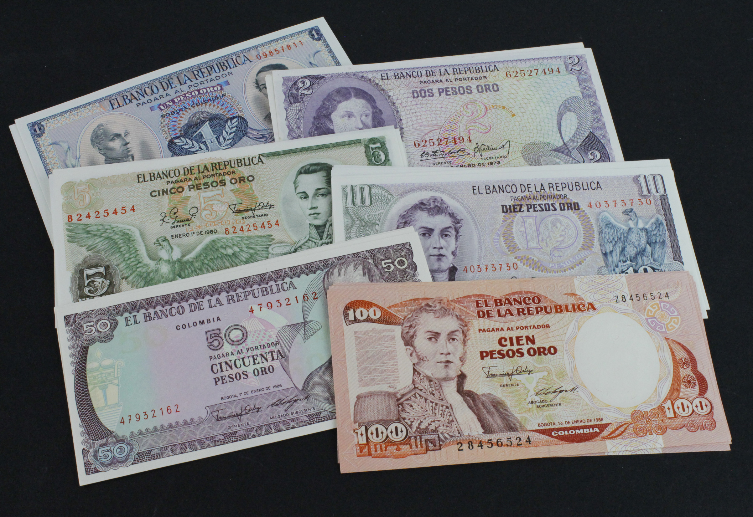 Colombia (60), 10 sets of 6 notes comprising 1 Peso Oro (10) dated 1973, 2 Pesos Oro (10) dated