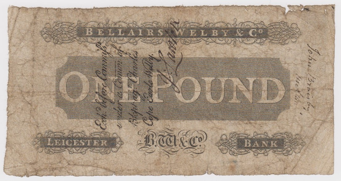 Leicester Bank 1 Pound dated 1812 last date of issue, No. 5063 for Bellairs, Welby & Co. (Outing - Image 2 of 2
