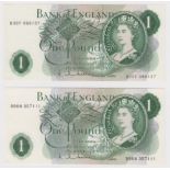 Hollom 1 Pound (2) issued 1963, a FIRST SERIES and LAST SERIES pair, serial B90N 357111 & B03Y