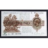 Warren Fisher 1 Pound issued 1919, a rarer CONTROL NOTE serial Z/79 210990 (T24, Pick357) small