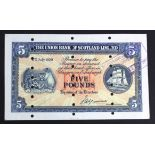 Scotland, Union Bank 5 Pounds dated 17th July 1950, PROOF note with numerous cancellation punched
