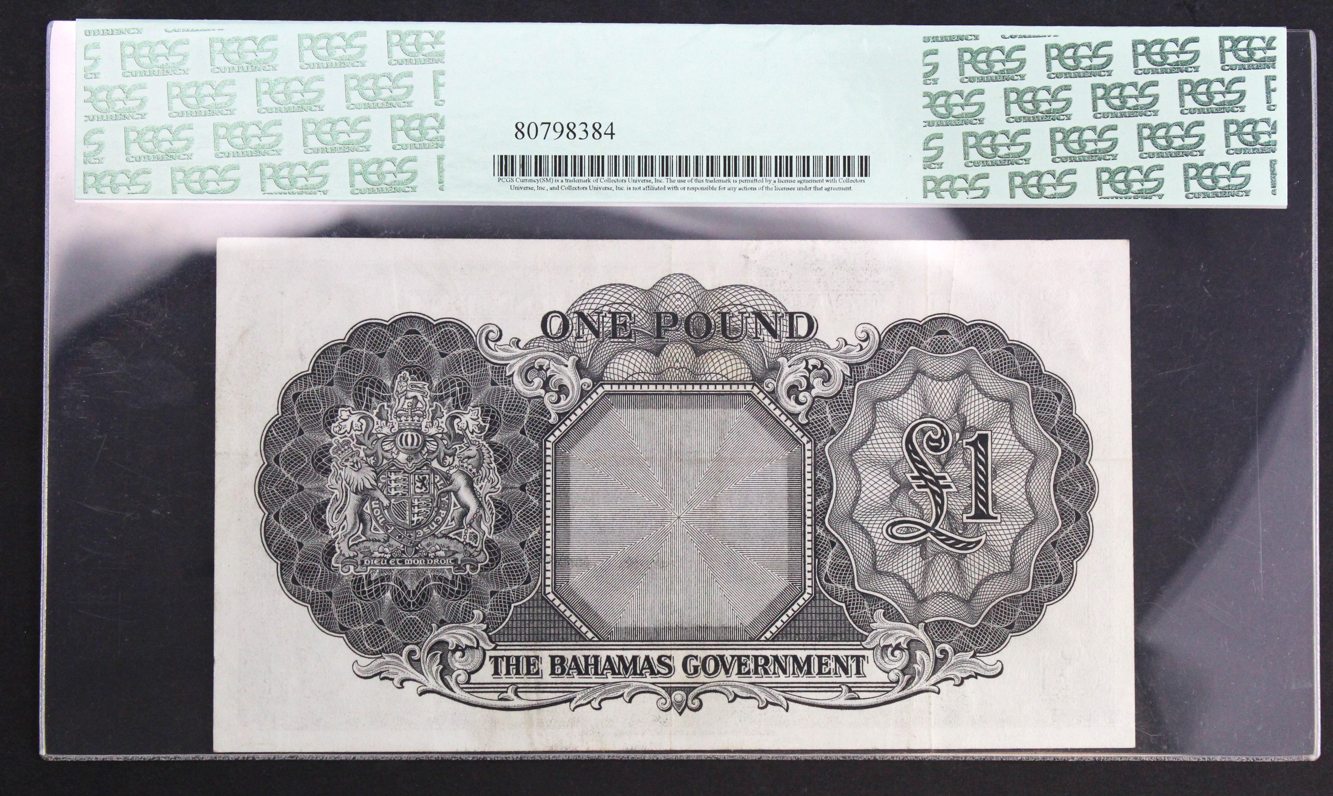 Bahamas 1 Pound issued 1953 (1963), portrait Queen Elizabeth II at right, serial A/5 184795 (TBB - Image 2 of 2