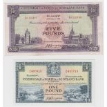 Scotland, Clydesdale & North Bank (2), 5 Pounds dated 2nd May 1952 serial D018385 (PMS CL25a,