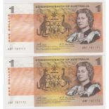Australia 1 Dollar (2) issued 1969, a consecutively numbered pair signed Phillips & Randall,