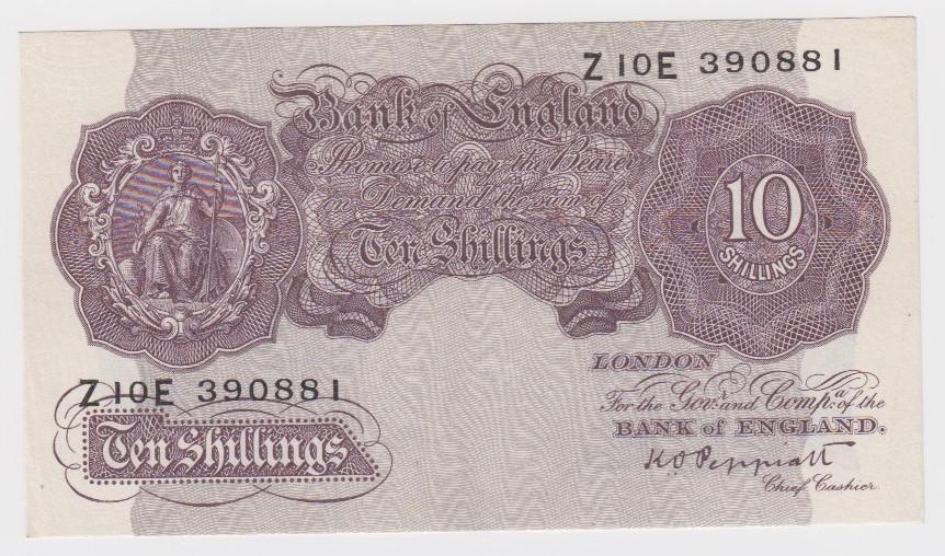 Peppiatt 10 Shillings issued 1940, mauve WW2 emergency issue, second issue, serial Z10E 390881 (