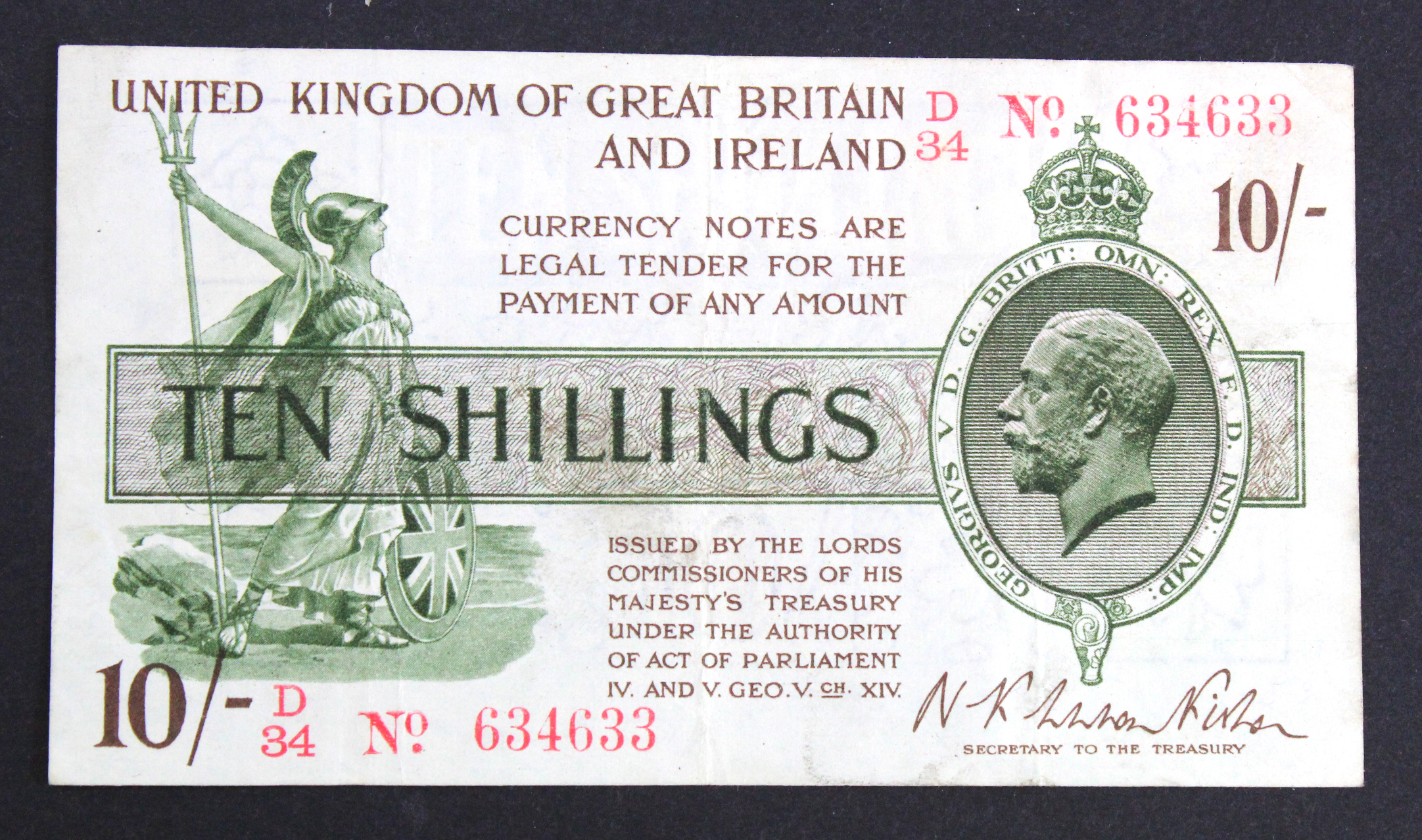 Warren Fisher 10 Shillings issued 1919, rarer FIRST SERIES, serial D/34 634633, No. with dot (T25,