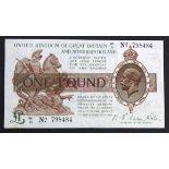 Warren Fisher 1 Pound issued 1927, Great Britain & Northern Ireland issue, serial W1/71 798484 (T34,