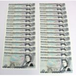Page 5 Pounds (25) issued 1973, a consecutively numbered run, serial AX39 388370 - AX39 388394 (