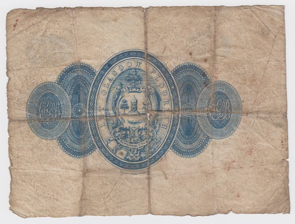 Scotland, City of Glasgow Bank 1 Pound PROOF, for issued note circa 1870's, showing full design of - Image 2 of 2
