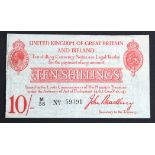 Bradbury 10 Shillings issued 1915, 5 digit serial number M/38 59391 (T12.1, Pick348a) trimmed at