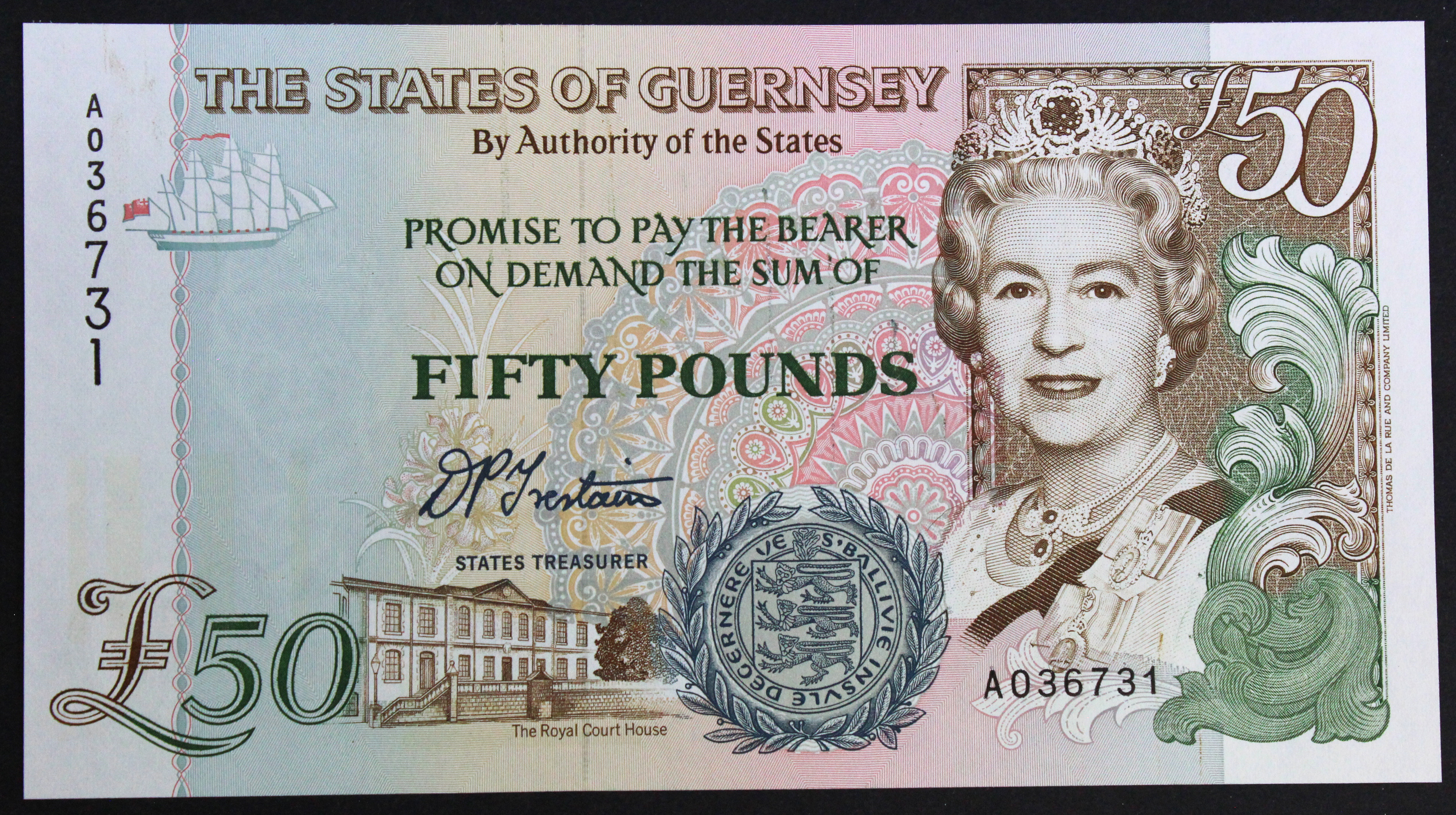 Guernsey 50 Pounds issued 1994, signed D.P. Trestain, serial A036731 (TBB B164a, Pick59)
