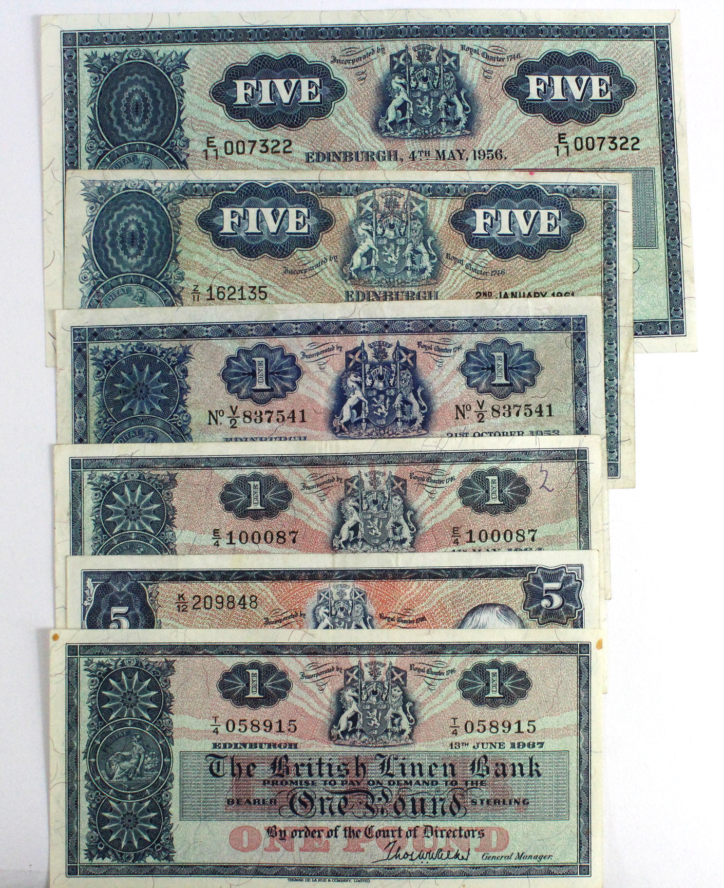 Scotland, British Linen Bank (6), a good range comprising, 5 Pounds dated 4th May 1956, signed A.
