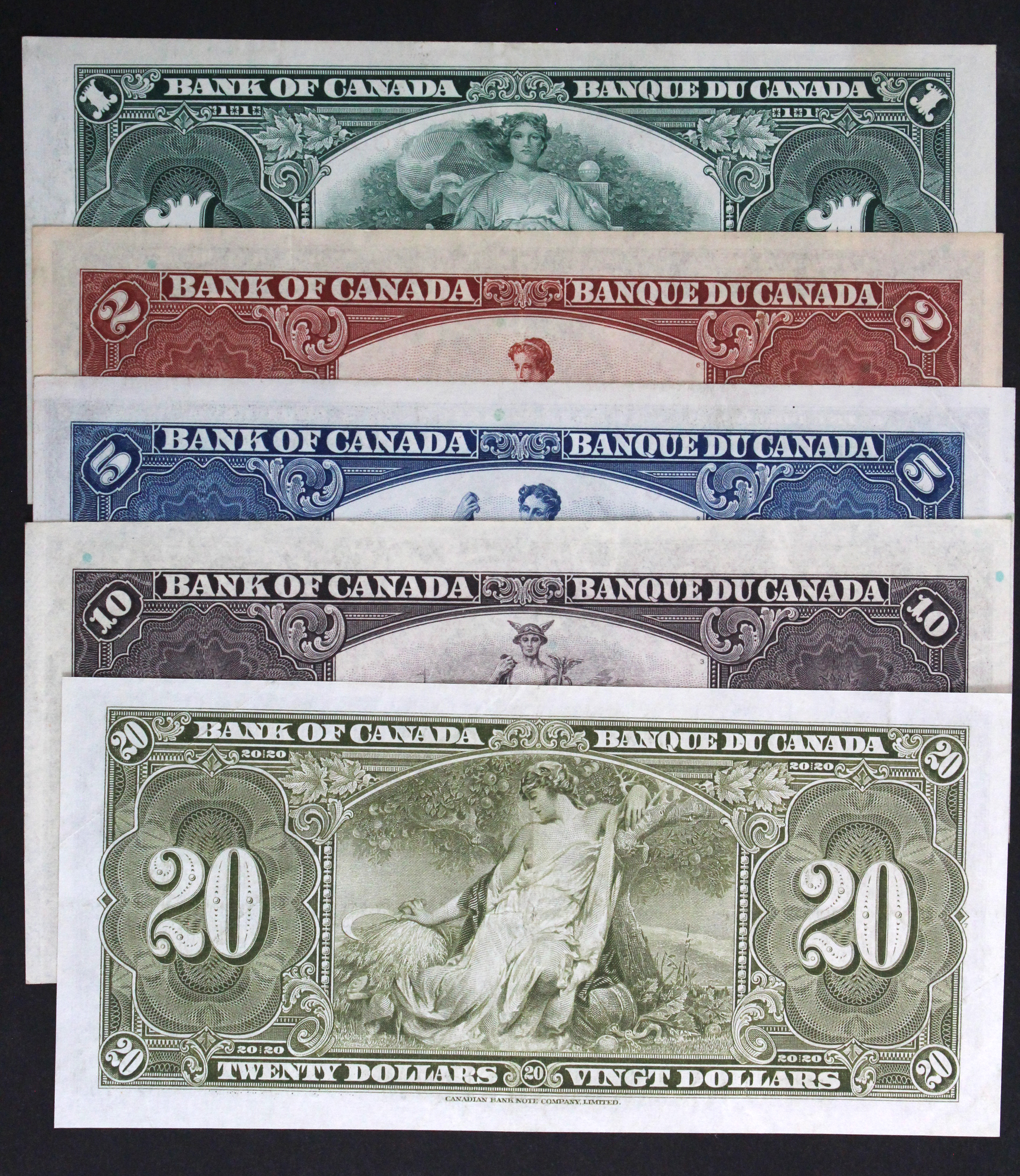 Canada (5), a group of King George VI notes, 20 Dollars, 10 Dollars, 5 Dollars, 2 Dollars and 1 - Image 2 of 2
