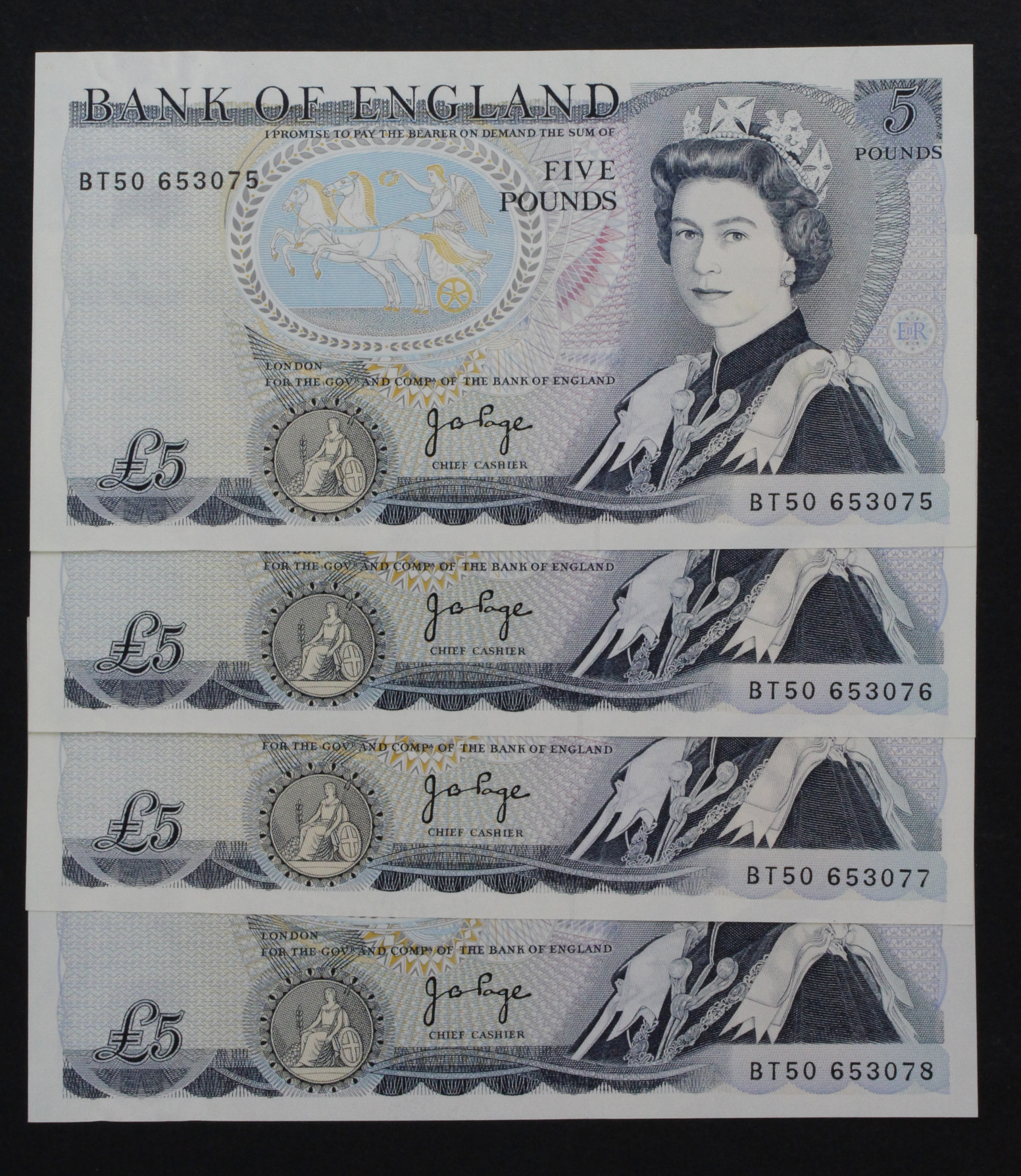 Page 5 Pounds (4) issued 1973, a consecutively numbered run, serial BT50 653075 - BT50 653078 (B336,
