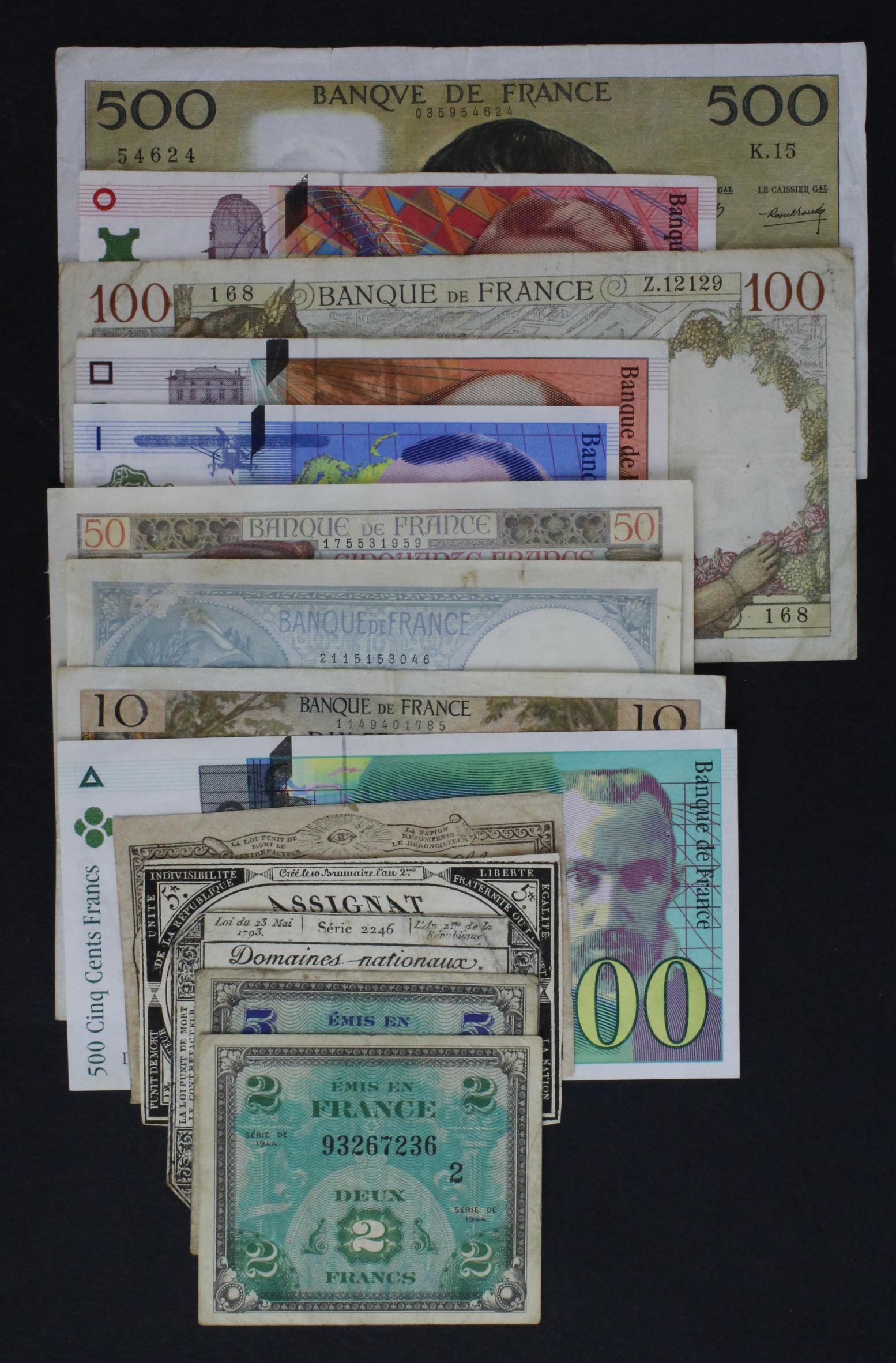 France (14), a small group including 3 x Assignats, 10 Francs and 50 Francs 1941, 500 Francs