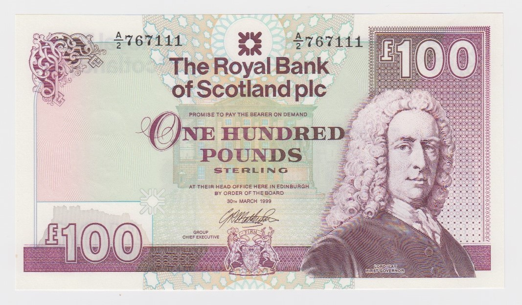 Scotland, Royal Bank of Scotland 100 Pounds dated 30th March 1999, signed G.R. Mathewson, serial A/2
