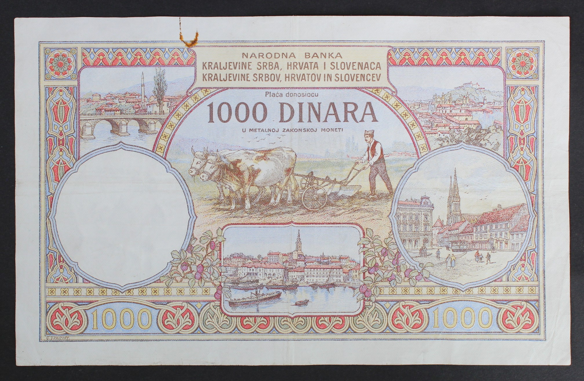 Yugoslavia 1000 Dinara dated 30th November 1920, very rare 1st issue WITHOUT King Karageorge - Image 2 of 2